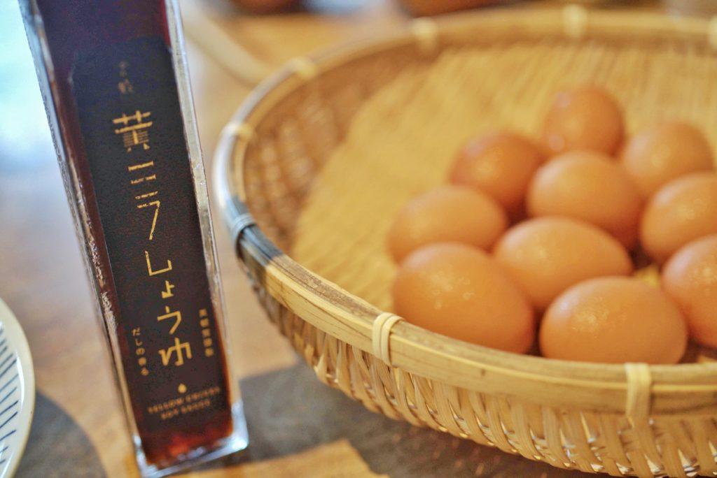 黄ニラ醤油と倉敷の新鮮卵