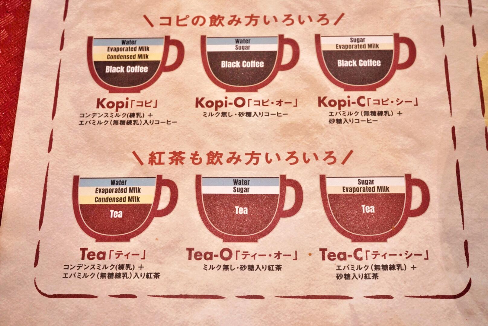シンガポールのコピの違い、紅茶の違い